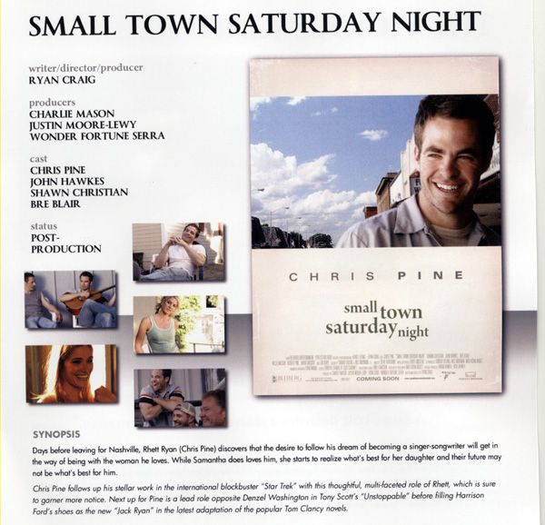 Small Town Saturday Night movie image Chris Pine AFM 2009.jpg
