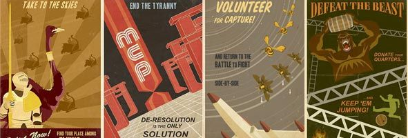 Awesome Retro Video Game Propaganda Posters - JOUST, DIG DUG, TRON, FROGGER, DONKEY KONG and GALAGA.jpg