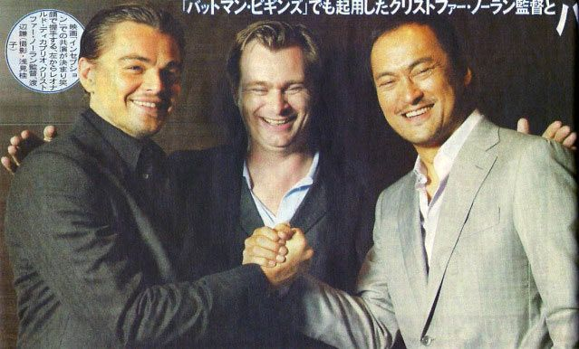Christopher Nolan, Leonardo DiCaprio, and Ken Watanabe Inception.jpg
