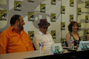 Sherlock Holmes movie press conference comic-con - Joel Silver, Robert Downey Jr and Rachel McAdams.jpg