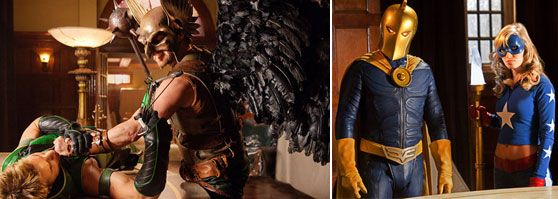 Smallville Justice League slice Doctor Fate (Brent Stait) and Stargirl (Britt Irvin), Justin Hartleys Green Arrow and Michael Shanks Hawkman.jpg
