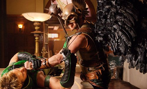 Justin Hartleys Green Arrow and Michael Shanks Hawkman Smallville Justice League episode.jpg