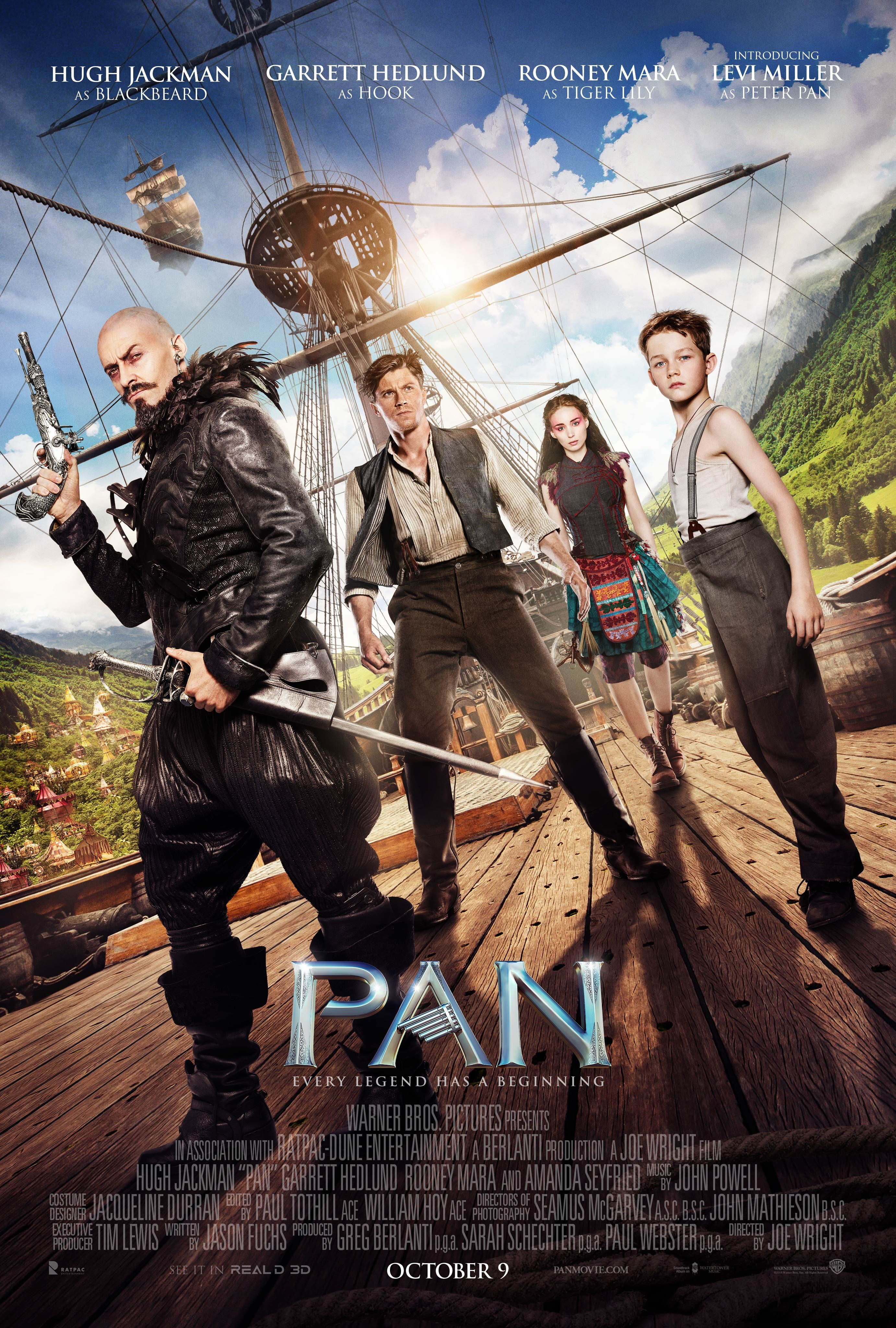 Pan Character Posters Feature Hugh Jackman And Levi Miller