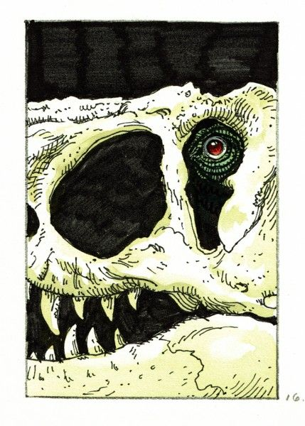 Jurassic Park movie poster concept art from William Stout.