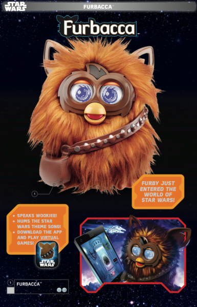 Furby Furbacca in Star Wars Force Friday toy catalog.