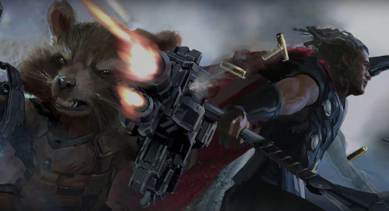 avengers 3 concept art thor rocket
