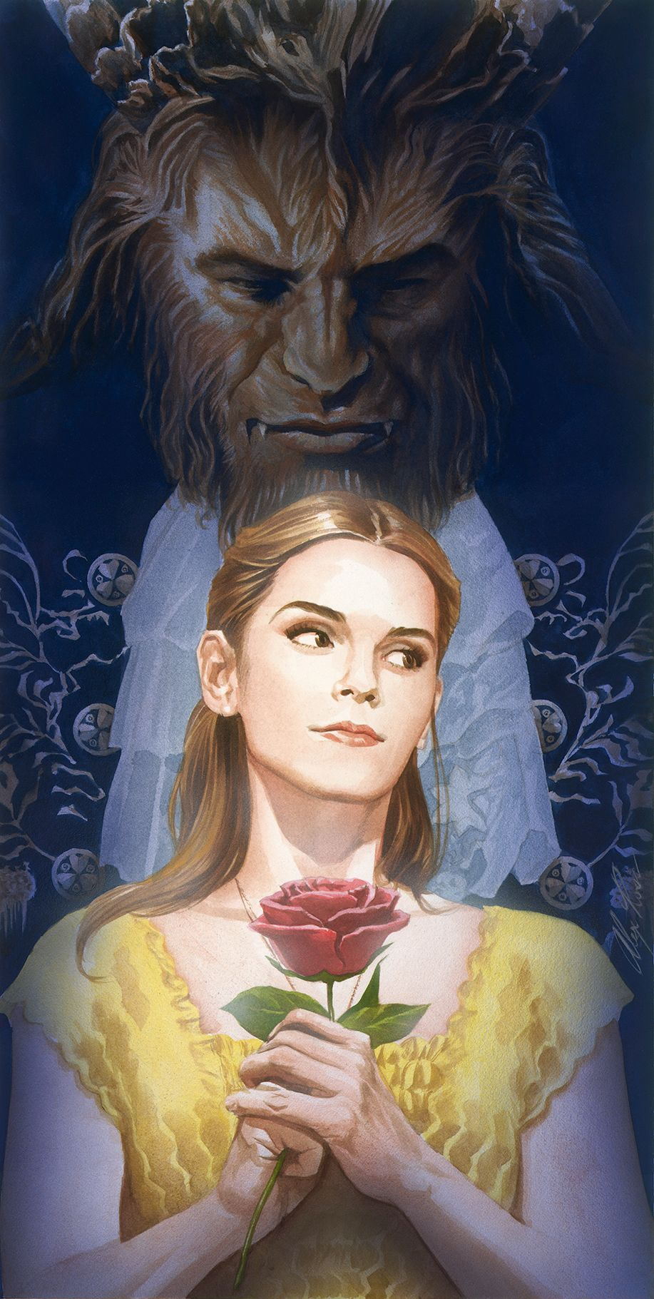Beauty and the Beast: Alex Ross Poster Is Gorgeous   Collider Dark Green Circle