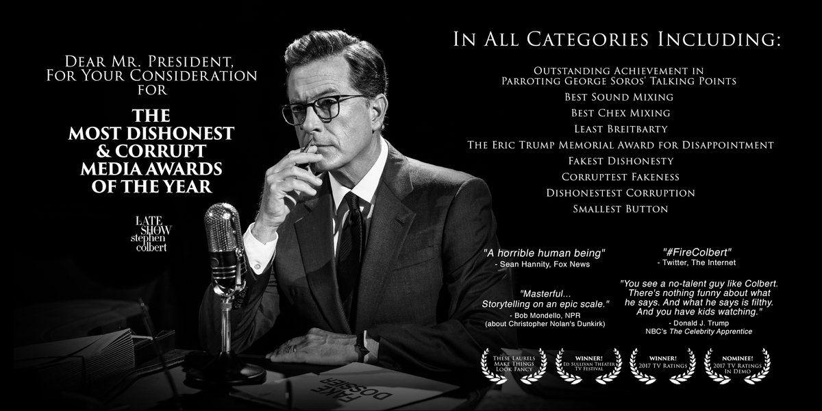 Stephen Colbert Enters Trump's Dishonest Media Awards Race ...  Stephen Colbert...
