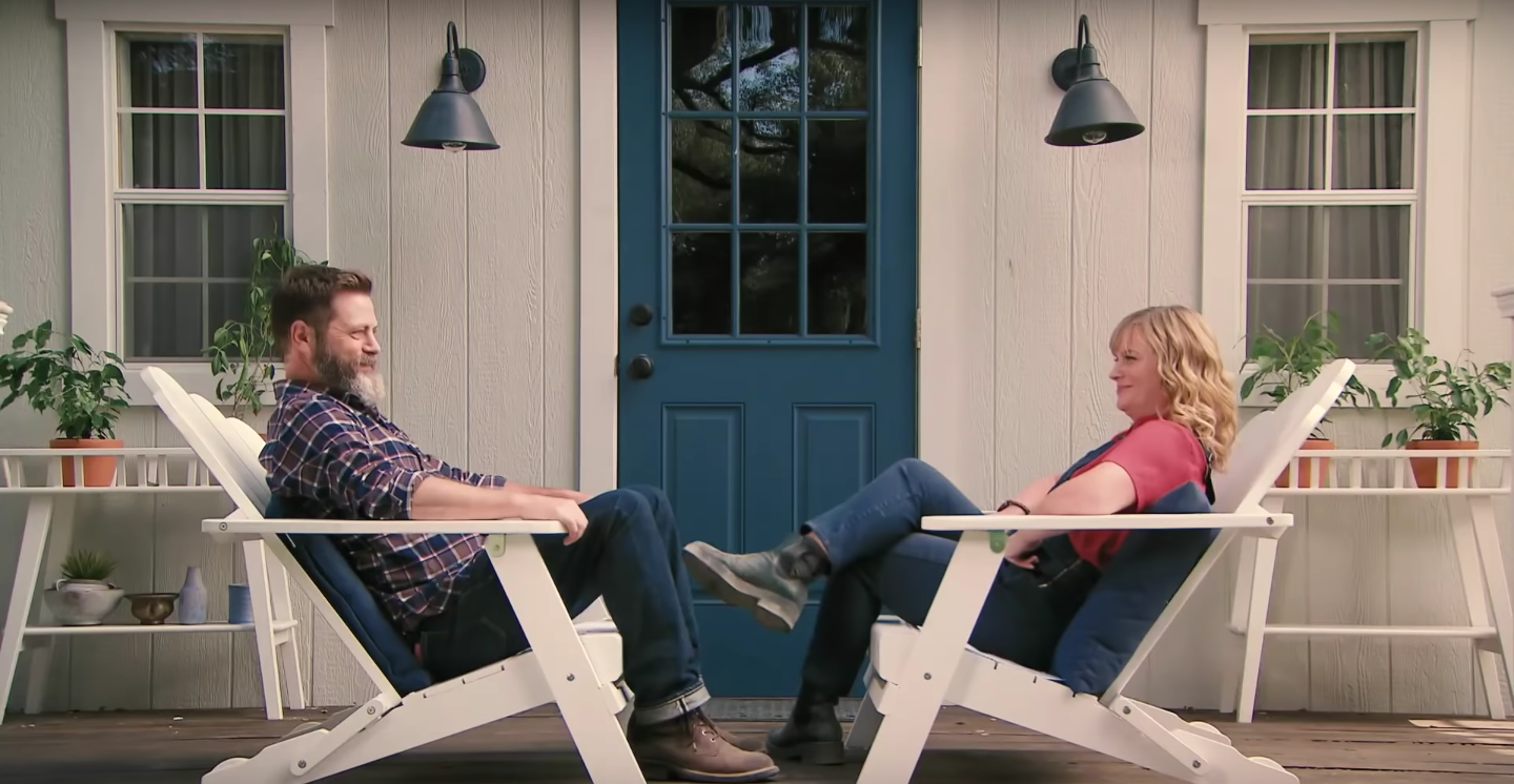 making it video features amy poehler and nick offerman being punny collider. Black Bedroom Furniture Sets. Home Design Ideas