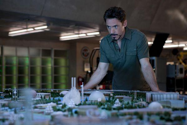 Iron Man 2 movie image Robert Downey Jr looking over Stark Expo