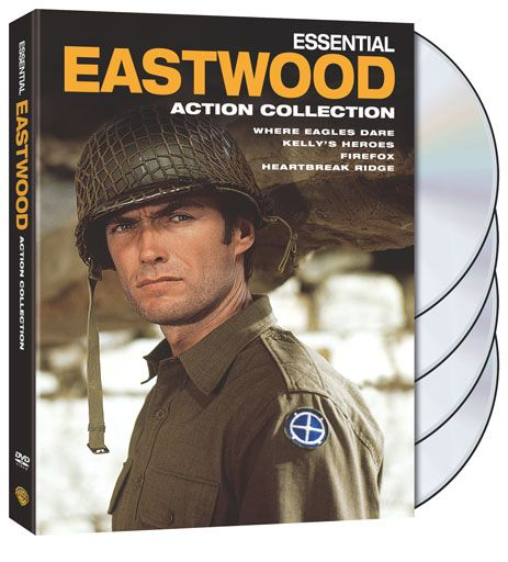 Essential Eastwood: Action Collection with Firefox, Heartbreak Ridge, Kelly's Heroes, Where Eagles Dare on DVD.