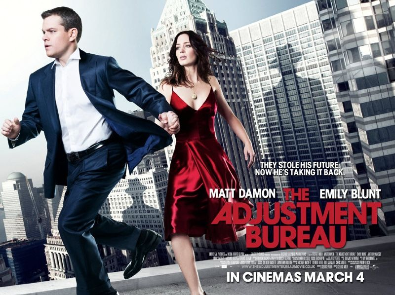 the adjustment bureau movie poster matt damon emily blunt collider. Black Bedroom Furniture Sets. Home Design Ideas