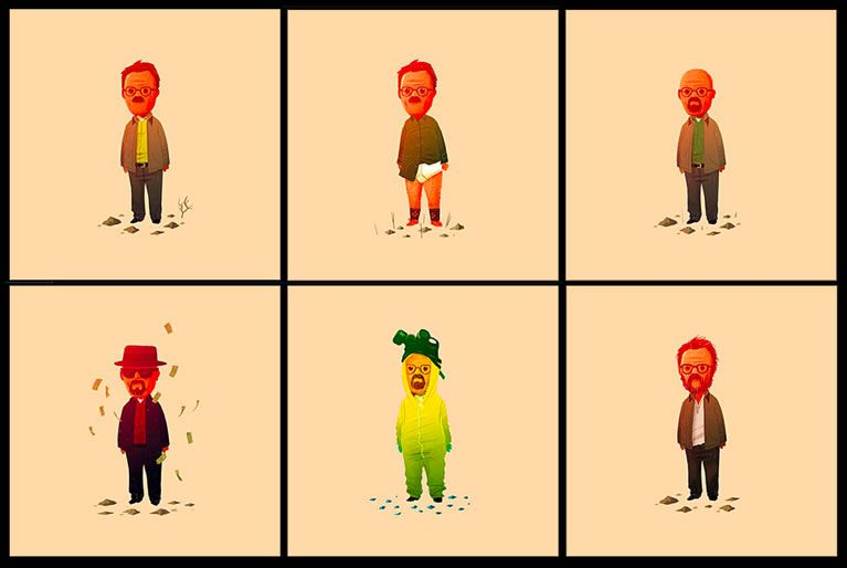 breaking bad gets the olly moss treatment with with six 5x5 prints