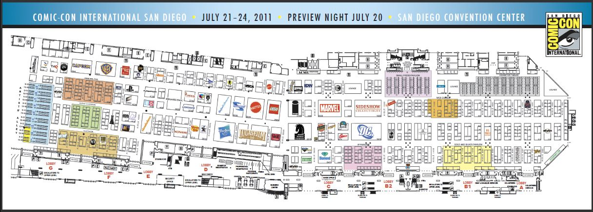 Exhibitors Hall Floor Map For 2011 San Diego Comic Con