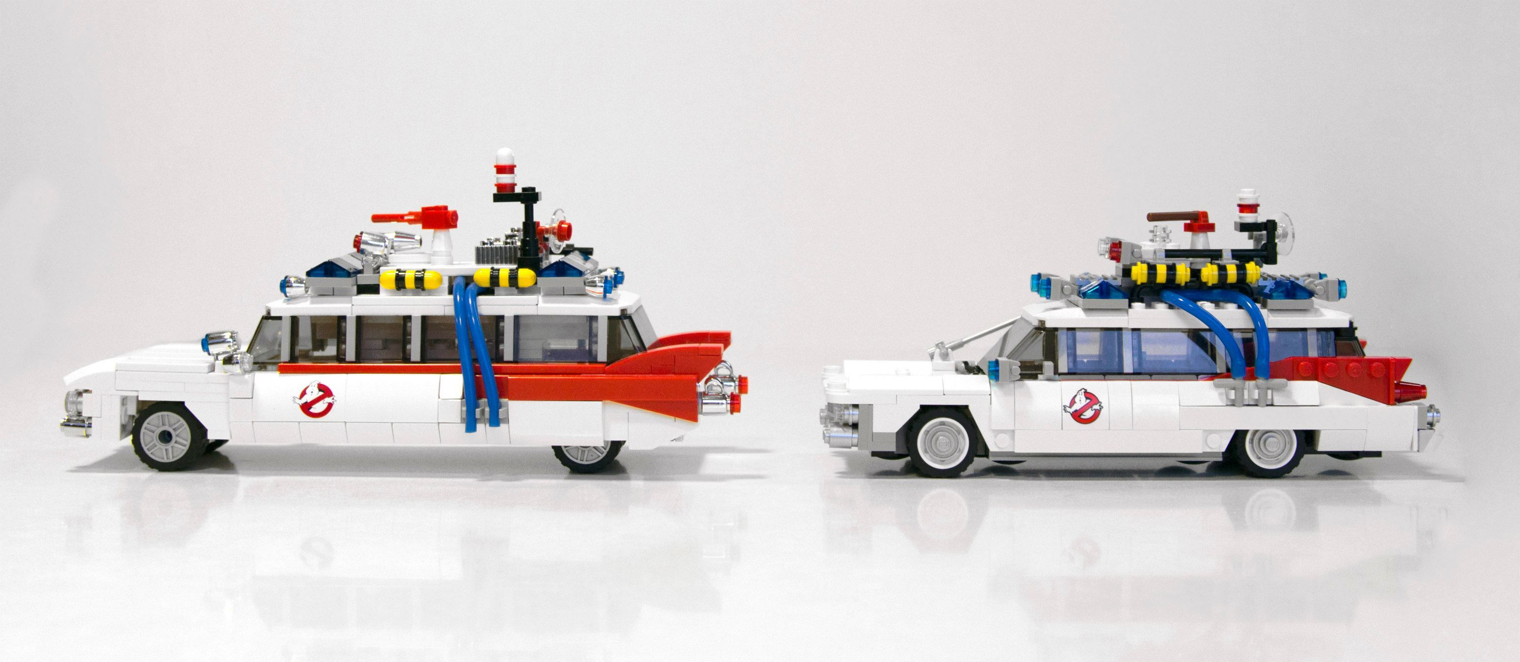 Side by Side Comparison Of The Official LEGO GHOSTBUSTERS Ecto 1 And