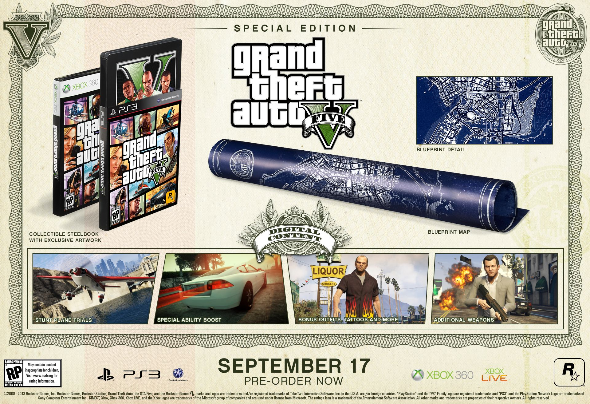 Gta 5 special and collectors edition announced grand theft auto grand theft auto v special edition malvernweather Images