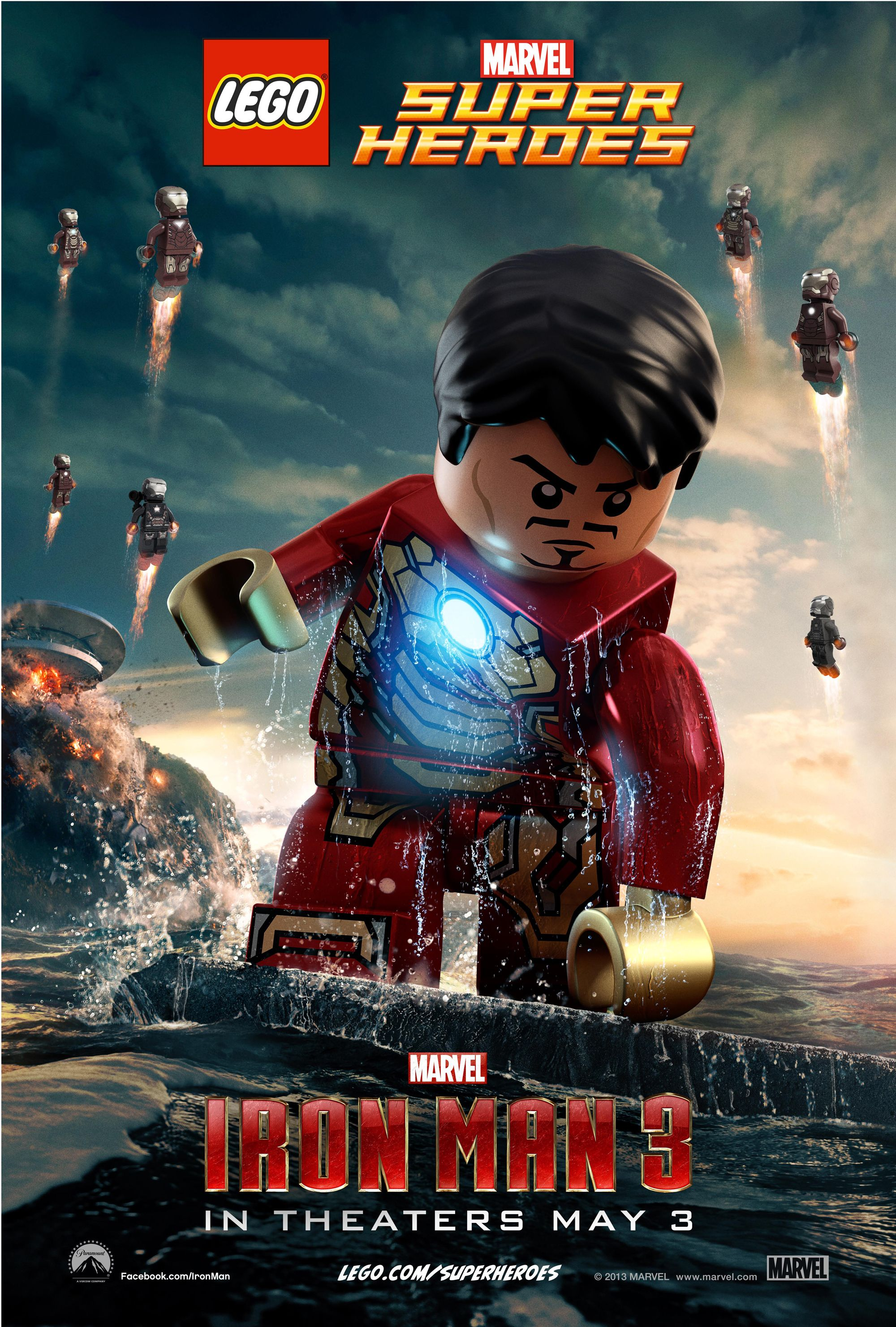 Iron man 3 lego posters iron man 3 stars robert downey jr for 3 by 3 prints