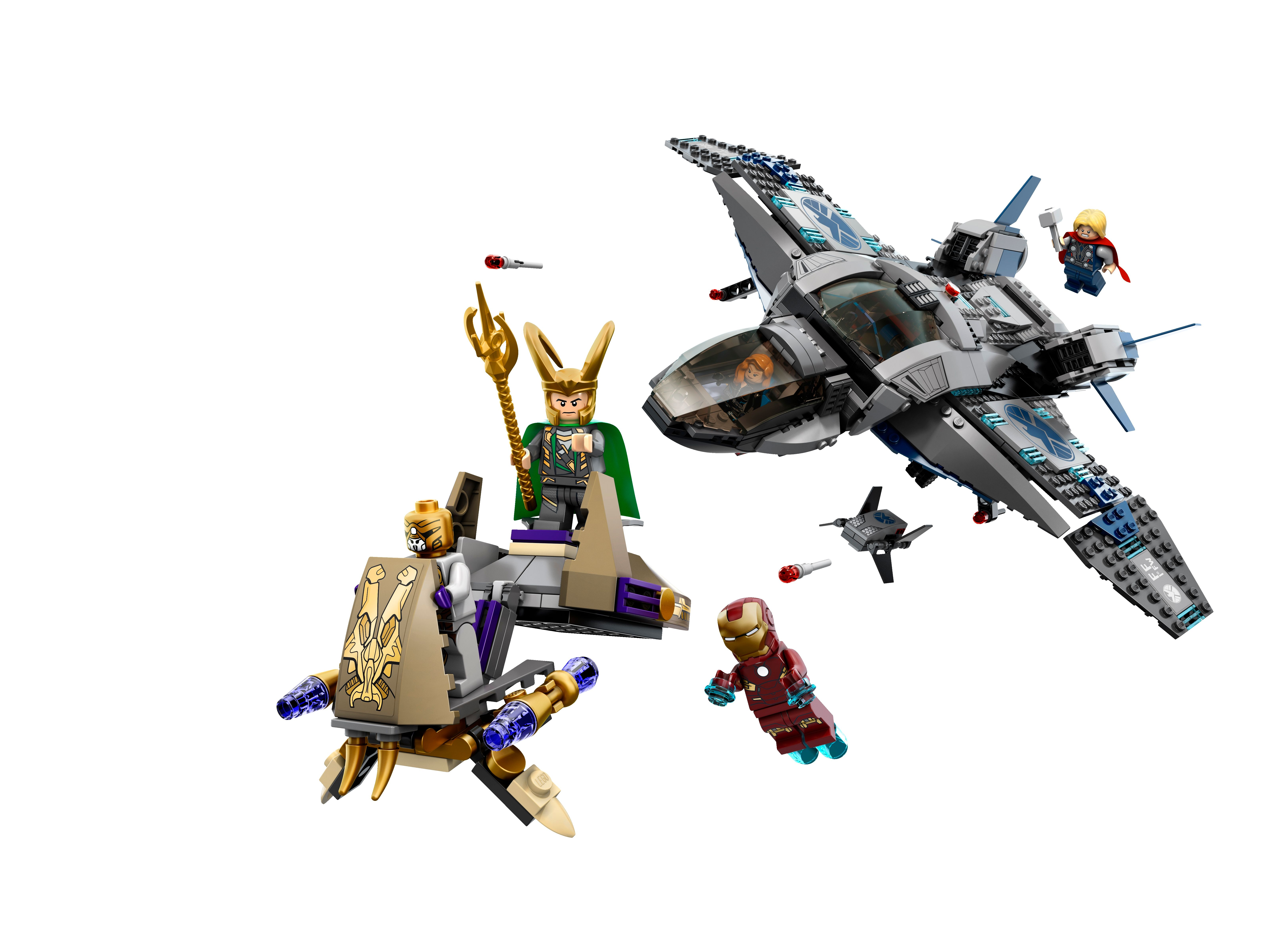 Product Description. LEGO Quinjet Aerial Battle From the Manufacturer. Defeat Loki and his forces with the super fast Quinjet!Reviews: