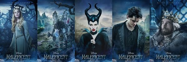 maleficent character posters featuring angelina jolie and