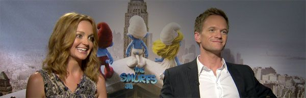 Neil Patrick Harris and Jayma Mays THE SMURFS, A VERY HAROLD & KUMAR CHRISTMAS interview slice