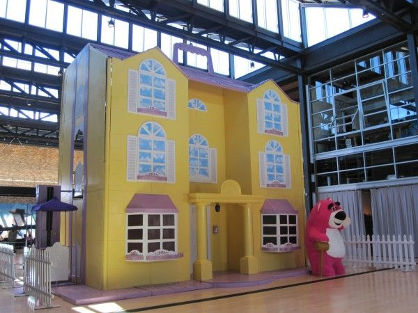 The exterior of the two-story Ken's Dreamhouse that they built in the atrium