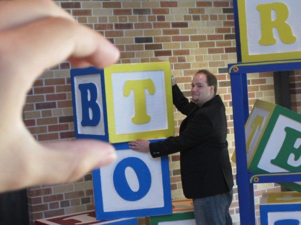 A forced perspective shot of me with some alphabet blocks
