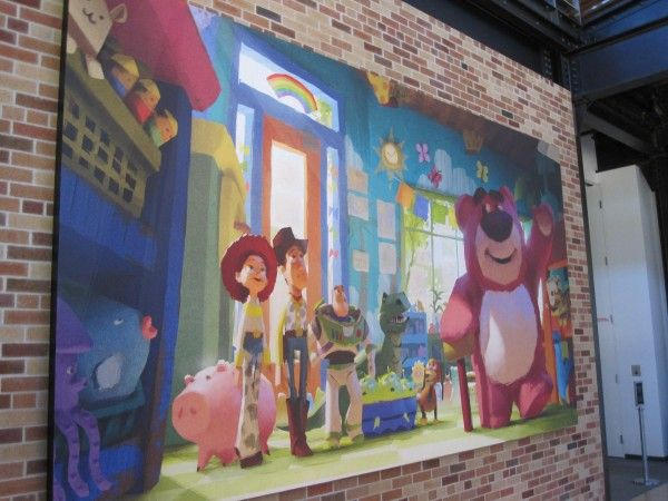 "One of the ""Toy Story 3"" paintings around the building"