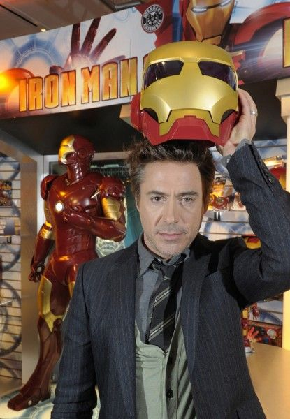 Robert Downey Jr with Iron Man 2 toys at Toy Fair 2010