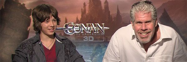 Ron Perlman Leo Howard CONAN THE BARBARIAN and HELLBOY 3 interview slice