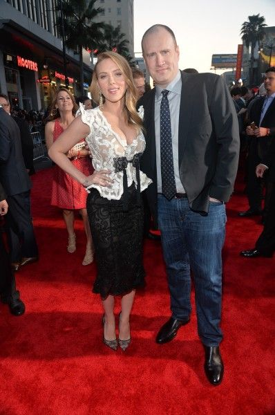 Scarlett Johansson and Kevin Feige Captain America 2 3