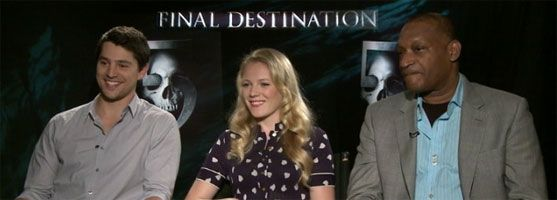 Emma Bell, Nicholas D'Agosto, Tony Todd FINAL DESTINATION 5 slice interview