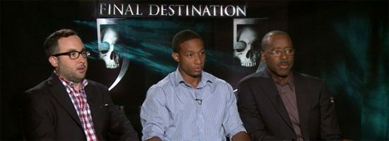 Arlen Escarpeta, P.J. Byrne, Courtney B. Vance FINAL DESTINATION 5 Interview slice