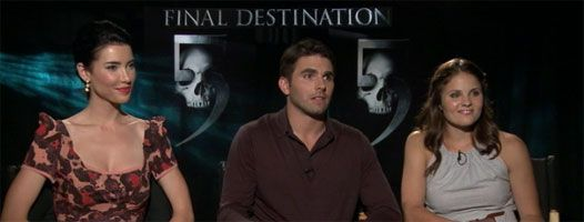 Miles Fisher, Jacqueline MacInnes Wood and Ellen Wroe FINAL DESTINATION 5 interview slice