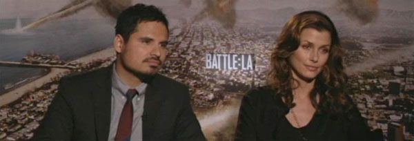 Michael Pena and Bridget Moynahan Interview BATTLE: LOS ANGELES slice