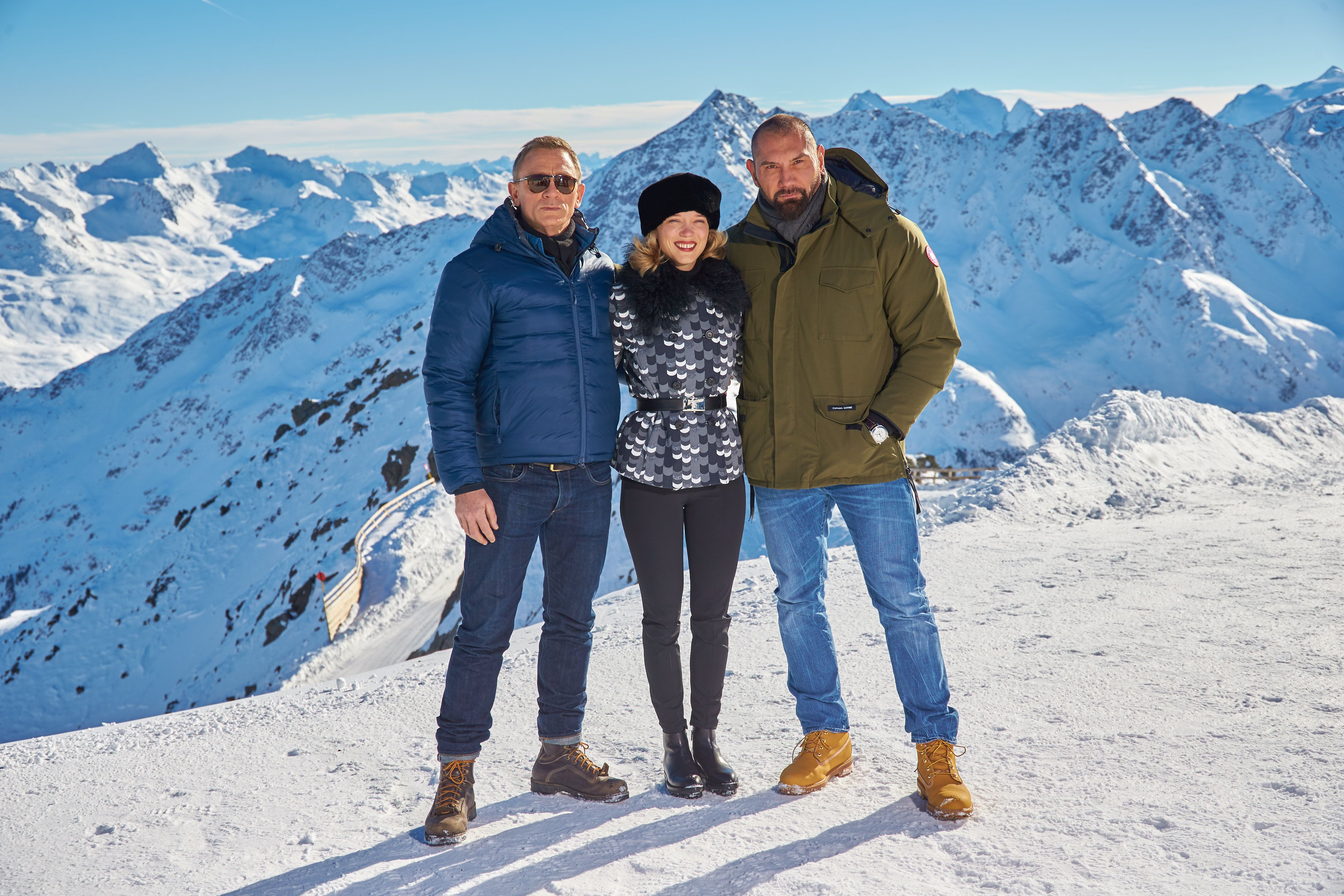 spectre images: daniel craig, lea seydoux, and dave bautista take in