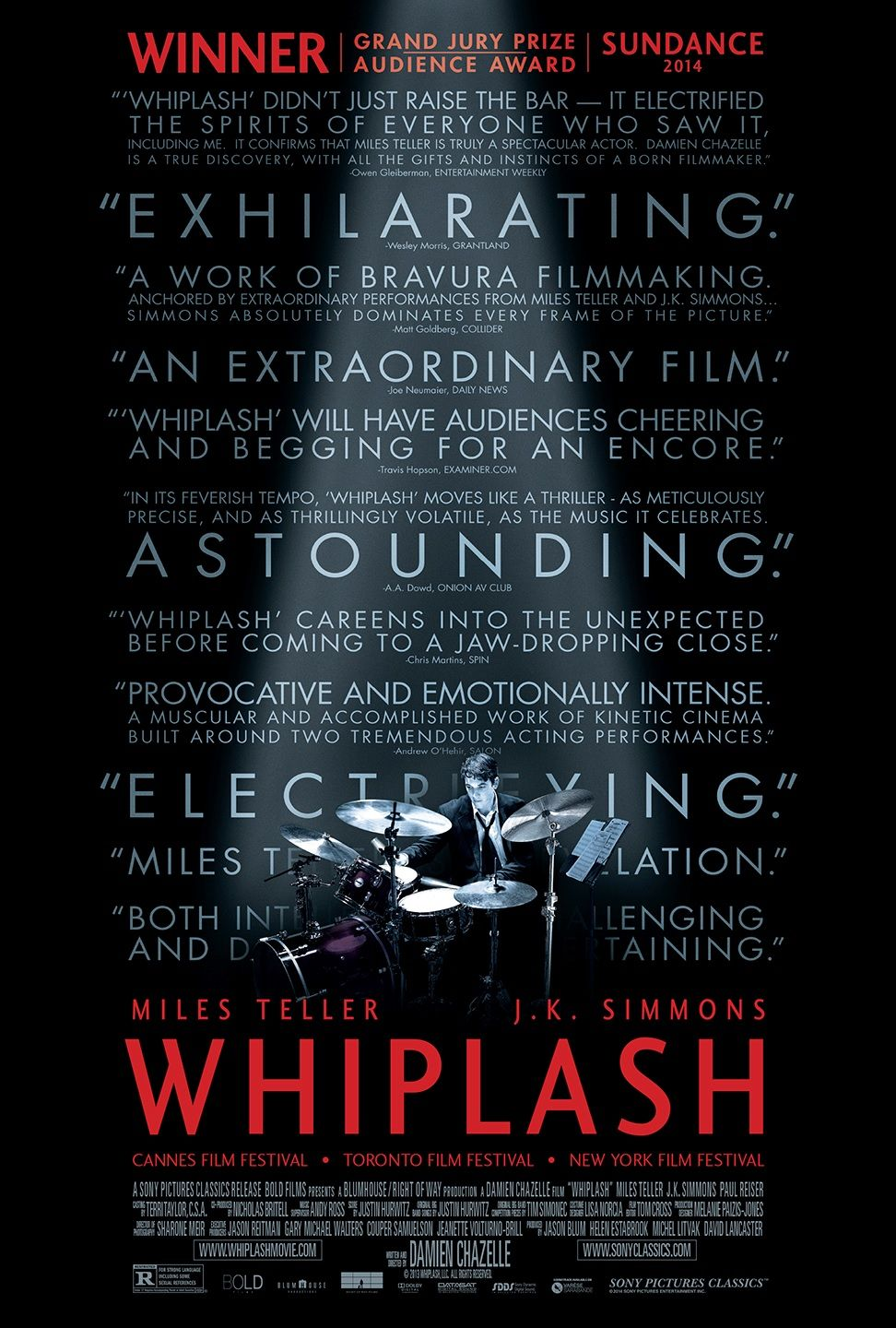 Whiplash - Movie Poster - Top 10 Films 2015
